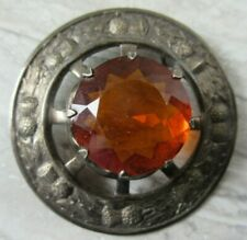 Old Vintage Silver Metal and Amber Glass Scottish Kilt Pin Brooch