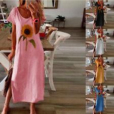 New Women Summer V Neck Short Sleeve Dress Solid sunflower Casual Loose Sundress