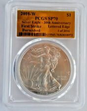 2016-W AMERICAN SILVER EAGLE BURNISHED PCGS SP70 LETTERED EDGE 1 OF 2016