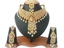 Schmuck Set 3 Teilig Gold Perlen Fest Kette Ohrringe Bollywood Indien Kostüm neu