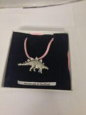 Stegosaurus Dinosaur Pp-G17 Pewter Pendant on a Pink Cord Necklace