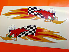 WOODPECKER Large Speeding Flames Motorcycle Helmet Stickers Decals 2 off 180mm