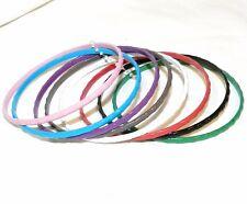 Br378 8-Set Bangle Bracelet Set Steel & Enamel Assorted Color 3mm Bamboo Design