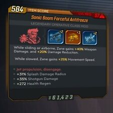 PS4 Borderlands 3 Antifreeze Class Mod COM Chain Zane 2.0 GOD ROLL Level 57 BL3