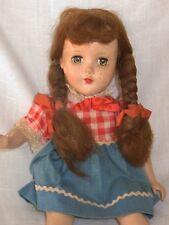 "Vintage 1950s Hard Plastic 15"" Arranbee R&B Walker Doll Long Braids; Roller Skat"