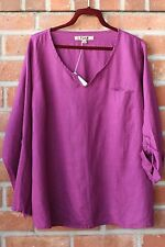 FLAX BOLD 2015 LINEN SPECIAL TEE ROLL TAB SHIRT BLOUSE GRAPE JUICE VIOLET 2G 2X
