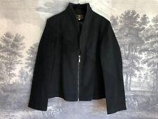 Fendi Black Cashmere Double Zip High Collar Basic Jacket Size XXXL Career Work