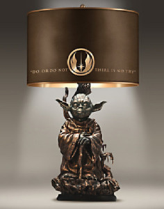 """Yoda Star Wars Collectible Lamp Sculpture """"Do or Do Not """"There is no Try"""" shade"""