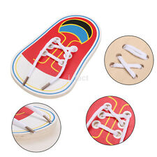 Practical Toddler Wooden Lacing Shoes kid Educational Montessori Teaching Aid UK