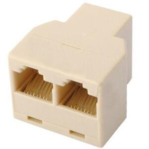 RJ45 Ethernet Splitter Adapter LAN Network CAT5E Y 3 Ports Coupler Cable Joiner