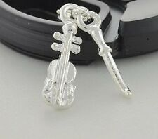 LOVELY SILVER VIOLIN OR CHELLO & BOW CLIP ON CHARM FOR BRACELETS-3D-SILVER PLATE