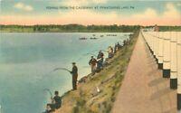 Causeway Fishing 1940s Postcard Pymatunung Lake Pennsylvania Tuck 1312