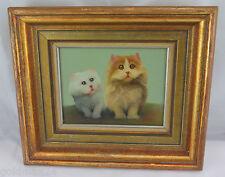 """Öl-Gemälde auf Holz - """"2 Katzen"""" / Goldrahmen (Holz)"""