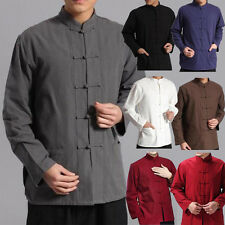 Vintage Men Chinese Kongfu Jacket Long Sleeve Cotton Tops Coats Tang Suit Solid