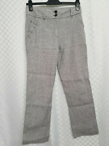 Ladies M&S Linen Blend Trousers Size 8 W30 L27 Grey Straight Low Rise Stretch