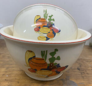 "Vintage Homer Laughlin Kitchen Kraft Oven Serve Fiesta 10"" 8"" Mixing Bowls"