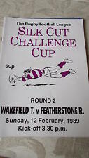 Wakefield Trinity v Featherstone Rovers programme 12.2.89 Challenge Cup