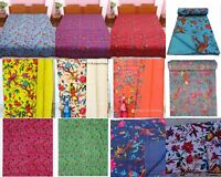 Handmade Indian Cotton Bird Kantha Blanket Quilt Throw Twin Ethnic Bed Cover