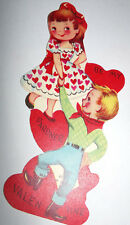 Vtg 1950s Little Boy Girl Square Dancing Hearts Children's Valentine's Day Card