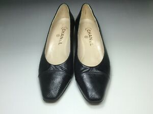 Chanel Black Leather & Lizard Classic Pump 38.5