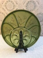 Vintage Indiana Green Glass Deviled Egg Relish Serving Plate Platter Easter