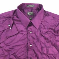 Arrow Dress Shirt Mens 17 Purple 34/35 Sleeve Classic Fit Wrinkle Free Sateen