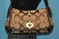 COACH Brown Signature C Jacquard Leather Ergo Flap Hobo Purse Shoulder Bag 11257