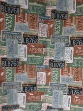 "VEHICLE STATE LICENSE PLATES CAR  UPHOLSTERY FABRIC 45"" BY58"" WIDE  NEW"