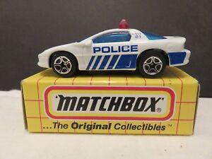 1995 Matchbox Tyco MB59 Camaro Z28 Police White/Blue Die-Cast