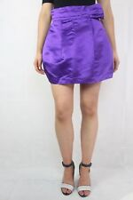 WAYNE COOPER Purple Satin Waisted Silk Skirt Size 1 (8-10)