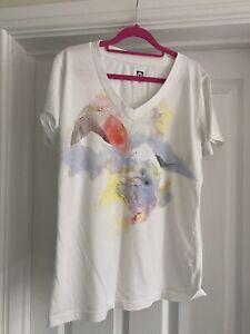 Roxy White V Neck Short Sleeve T Shirt Size XL