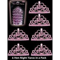 6 Mini Pink Hen Party Tiaras Hen Night Fancy Dress Accessories Girls Night Out