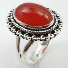 Carnelian Ring Sz 7.75 Women's Jewelry 925 Pure Sterling Silver Red Oval