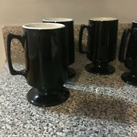 Hall Vintage Black mugs 1873 white interior pottery pedestal footed set of four