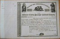 Delaware County Passenger Railroad Co. 1860 Trolley/Tram Stock Certificate