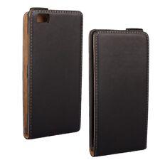 Huawei Ascend P8 Lite Flip Case echt Leder Handytasche Vertikal Klapp schwarz