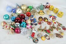 Vintage XMas Christmas Decoration Glass Ornament Lot Santa Hand Painted Old