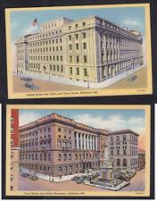 Vintage Postcard Lot MD - BALTIMORE Post Office, Court House & Battle Monument