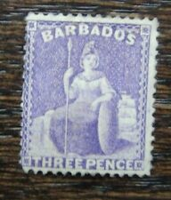 Barbados 1875 - 1881 3d Mauve Lilac  MM SG75 Cat £170