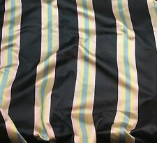 Silk BROCADE Fabric Black Pink & Blue Stripe -By The Yard-