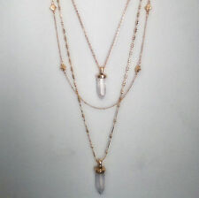 Inspired Aria Stone Pendant Necklace Layered Gold Chain Necklace