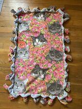 Hand Made Fleece, No Sew 2 Sided Cat Blanket, Flower Print