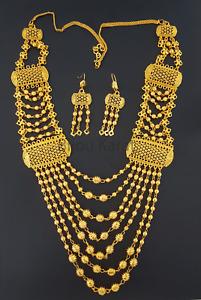 Gold Set Kette 22 Karat vergoldet Dubai Schmuck Altin Kaplama Kolye Taki Arabic