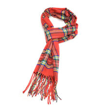 Winter Red Plaid Scarf for Women Girls Cashmere Feel Knit Tassel Scarfs Shawl