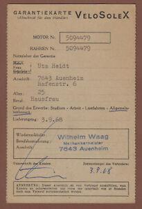 Velo Solex Händler Garantiekarte 1968 original Stück