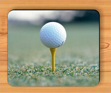 GOLF BALL ON YELLOW TEE MOUSE PAD -akI8Z