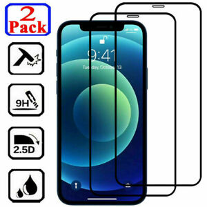 2Pcs Tempered Glass FULL COVER Screen Protector For iPhone 12 11 Pro X XR XS Max