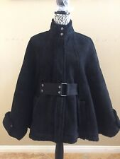 UGG WOMEN SEAGATE BLACK SHEARLING CAPE PONCHO SUEDE JACKET COAT Size S -TAG