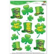 """St Patrick's Day Window Clings 12"""" x 17"""" Sheet St Patrick's Day Decorations"""