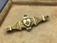 Sweetheart Brooch Gold Tone Heart Love Victorian Edwardian Antique Jewellery